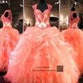 Coral Baratos Quinceanera Vestidos Vestidos 2016 Lace Organza Ruffles Vestidos de 15 años Debutanta Doce 16 Vestido para 15 Anos