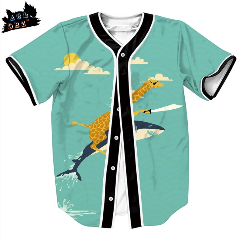 AC&DBZ 2018 men and women short sleeve baseball uniform T shirt shark giraffe personality creative fashion T shirt Tees top