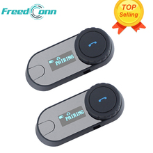 2 unids FreedConn TCOM-SC BT Interphone Bluetooth Casco de La Motocicleta Intercom Headset con Pantalla LCD + Radio FM