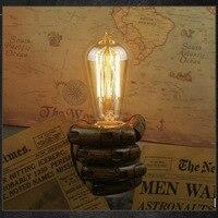 E27 Retro Wall Light Resin Vintage Edison Left/Right Fist Bedroom Restaurant Aisle Cafe Bulb Lamp Holder MDJ998