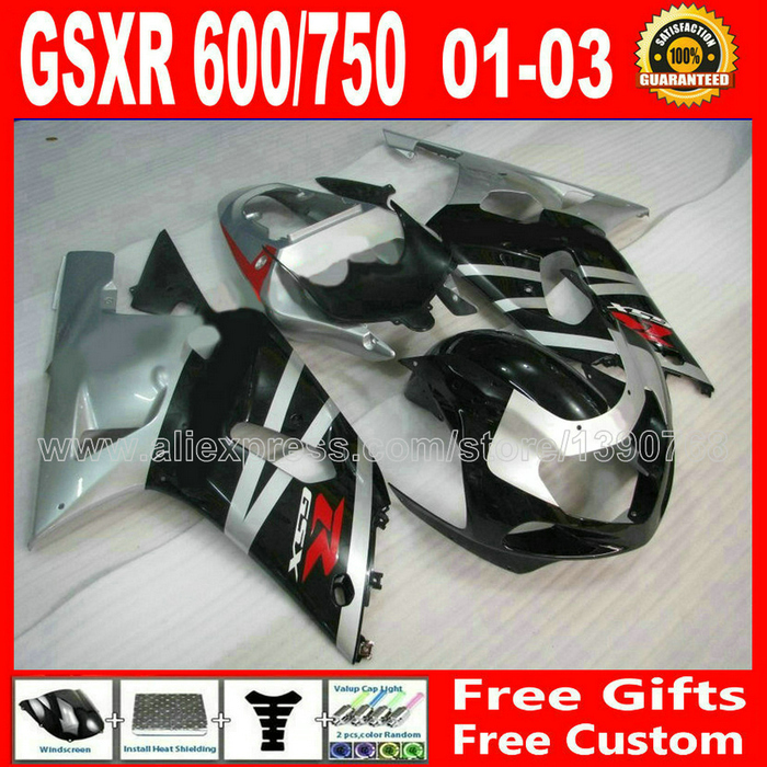 Hot sale fairing kit for 2001- 2003 black gray SUZUKI GSXR 600 750 motorcycle K1 #AIN GSX R600 R750 01 02 03