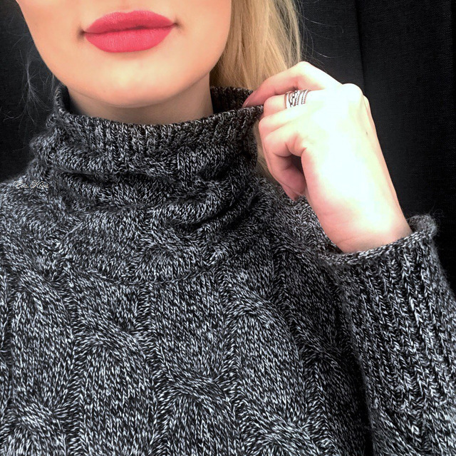 High collar cashmere sweater women thick sweater fashion 2019 autumn and winter new twist knitted bottom