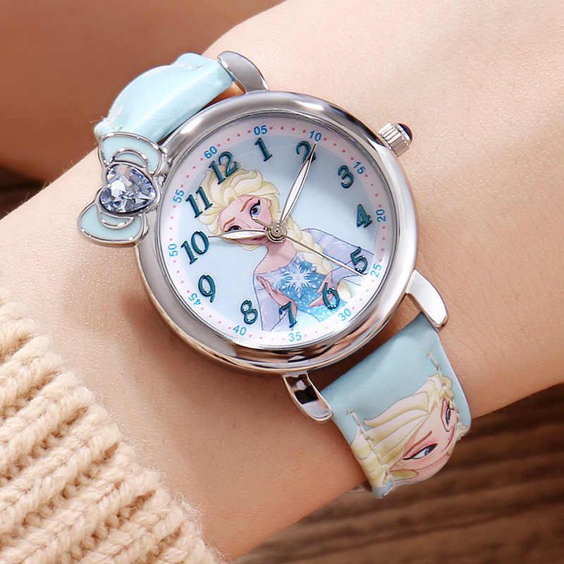 Замороженные Эльзы принцесса девушка милашки бабочка часы с бантом Студенческая кожа кварцевые красивые наручные часы Дисней ребенок часы Подарочная коробка