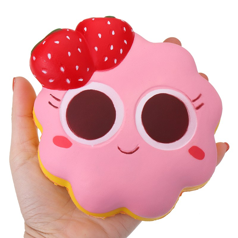 Taburasa Strawberry Facial Expression Cake Soft 14cm Slow Rising With Packaging Collection Gift Phone Straps