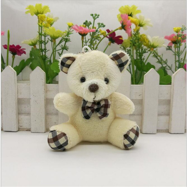 1PCS 9cm Plush Toy Bear Pendant Wedding Cartoon Animal Plush Pendant Toys For Children Small Gift Cartoon Bouquet Doll