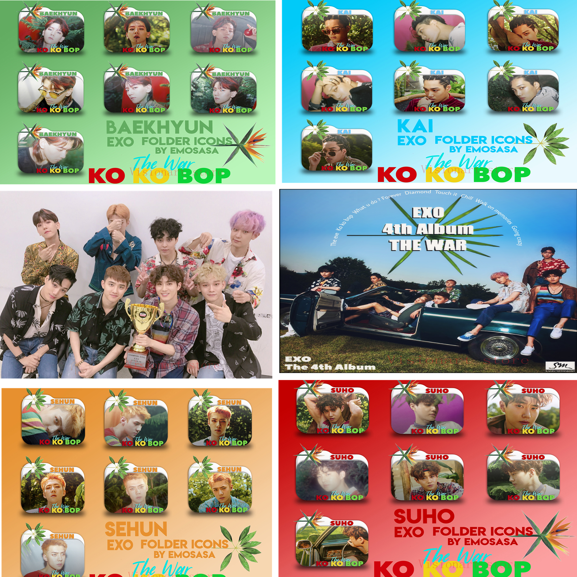 EXO-KOKOBOP  Posters Clear Image Wall Stickers Home Decoration Good Quality Prints White Coated Paper Abooly Brand MH7 rysunek kolorowy motyle