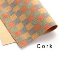 cork fabric Natural CHESS style colorful square cork leather natural Material Kork 60*84cm/23*33inch Cor-37