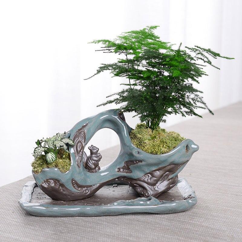 Créative Zen Style plante bonsaï plantes Pots pour fleur en céramique Pot de fleur maison jardin jardinières Patio décoration de bureau ornement - 6
