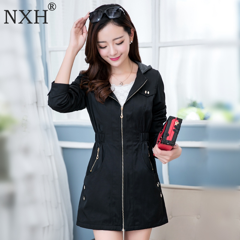 NXH 2018 New Fashion Women Mid-long Trench Coat Female Slim Hooded Windbreaker ladys outerwear overcoat Plus size M-4XL