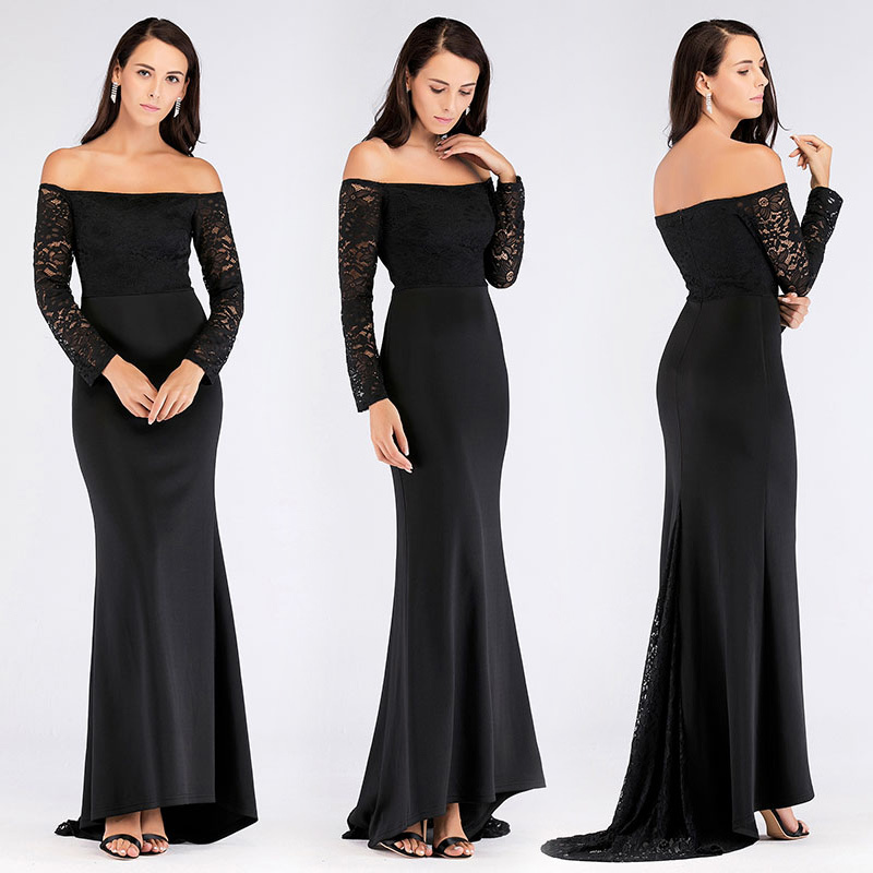 Ever Pretty Long Sleeves   Prom     Dresses   Elegant Off the Shoulder Black Lace Long Party Gowns With Train Autumn Mermaid Gala Jurken