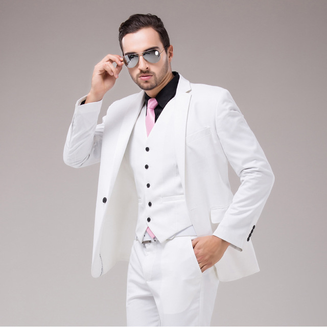 jacket + pants + vest 2016 new  Men's dress color one button suits a slim fit three piece wedding dress bussines fashion men