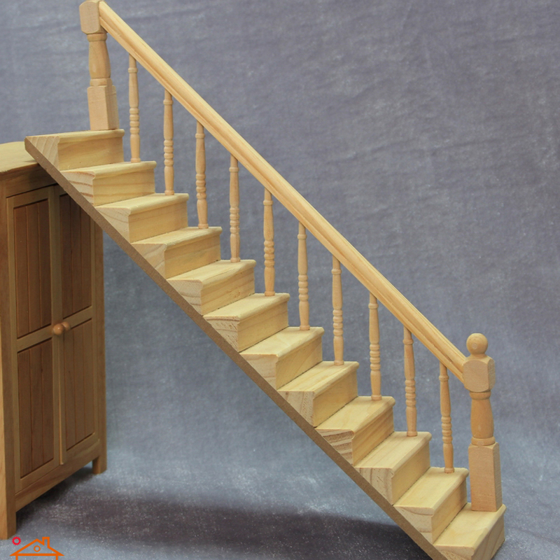 New Arrival DIY 1:12 Scale Stair Railing Vintage DollHouse Miniature Wooden  Mini Furniture Accessories Pretend Toys For Children In Furniture Toys From  Toys ...