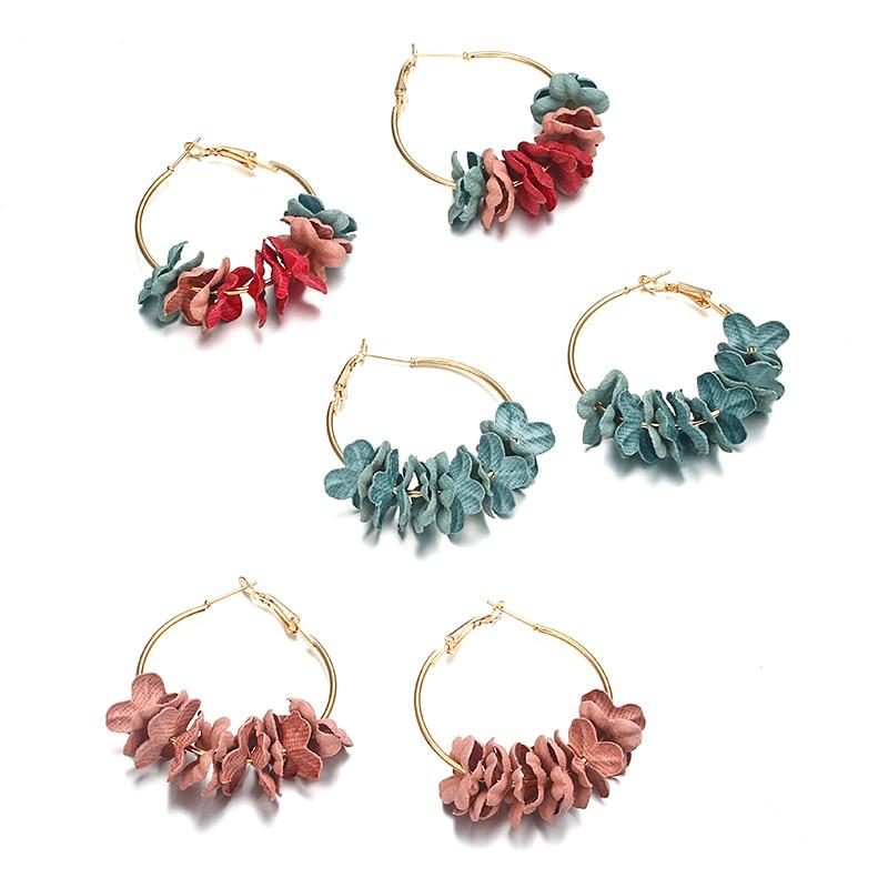 8 Jahreszeiten Stoff Blume Anhänger Ohrringe Gold Farbe Fisch Ohr Haken Einfache Trendy Böhmen Stil Sommer Schmuck Für Frauen 1 Para Ohrringe