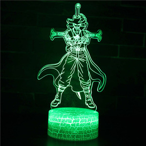 Image 4 - One Piece 7 Colors Changing Table Action Figures Lamp Luffy USB Led Desk Light Zoro Mihawk SUNNY Ship model toys Christmas Gift