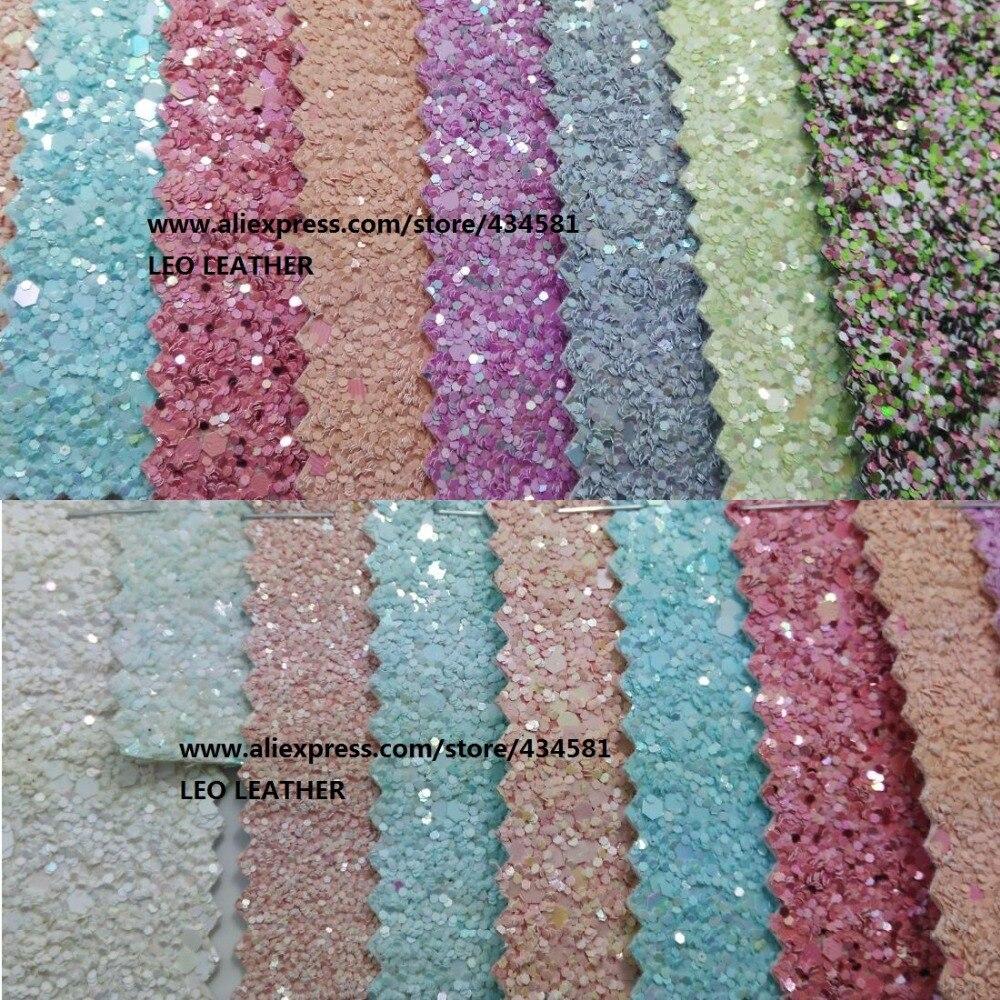 Pelle sintetica Chunky Glitter Tessuto Glitter Cuoio DELL'UNITÀ di Elaborazione del Tessuto Cucito Tessuto Tessuto per FAI DA TE Fabirc P961