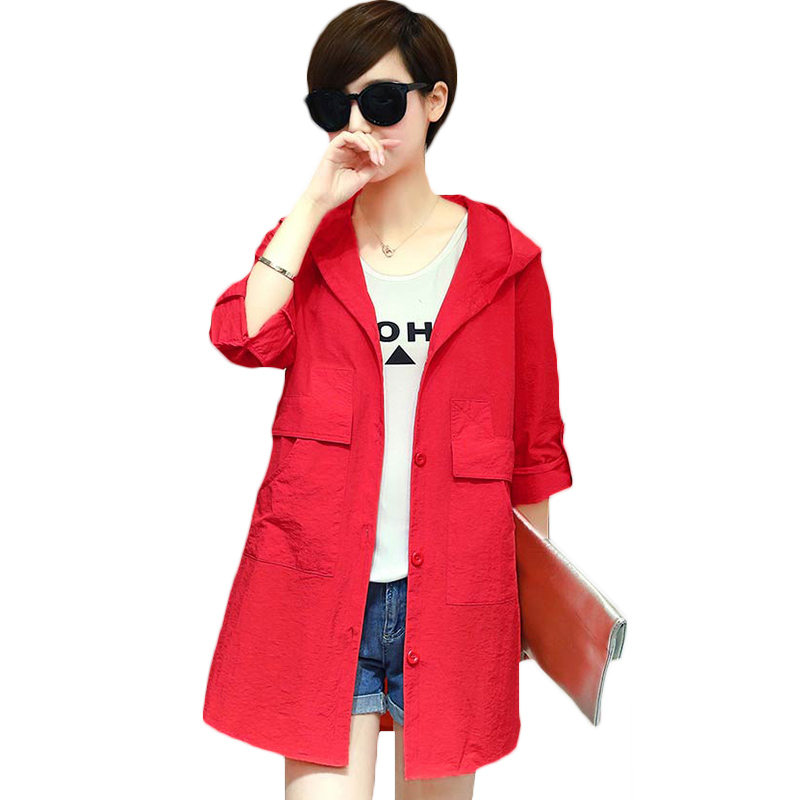 6XL Medium Long Thin Windbreaker Female 2019 New Spring Autumn Korean Loose Large Size Casual Women Short   Trench   Coat Tide LQ740