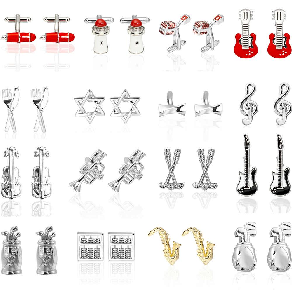 ¡Venta al por mayor y al por menor! ¡Gran calidad! gemelos de músico de moda sax Piano música diseños cobre material hombres gemelos