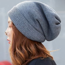 HT2561 Women Wool Hat Men Autumn Winter Cuffed Skullies Beanies Solid Plain Warm Knitted Hats Unisex Slouchy Baggy Beanie Hat