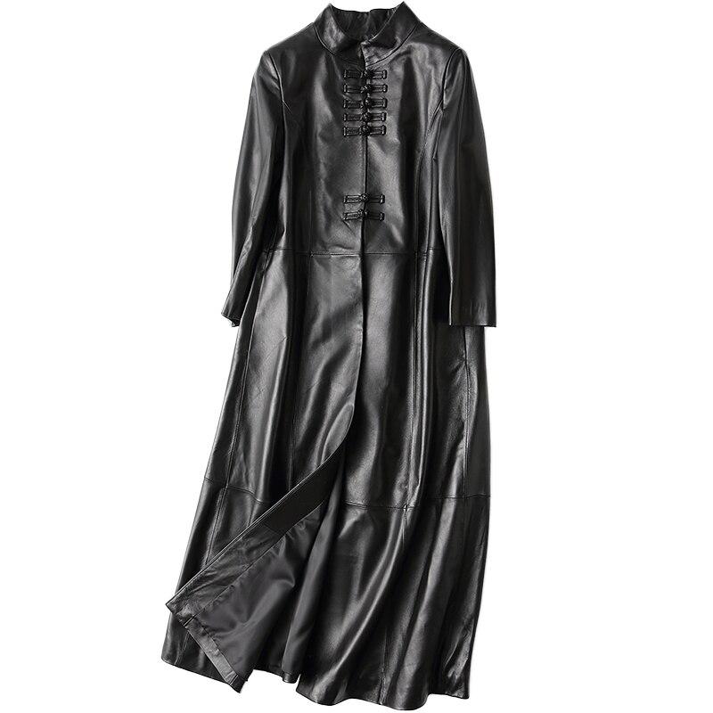 Cuir Femmes Automne Peau Vintage De Mouton Veste Trench Haute Noir Manteaux Long Hiver Style Qualité Z291 Chinois Réel En Femme Véritable 5C0qqYXw