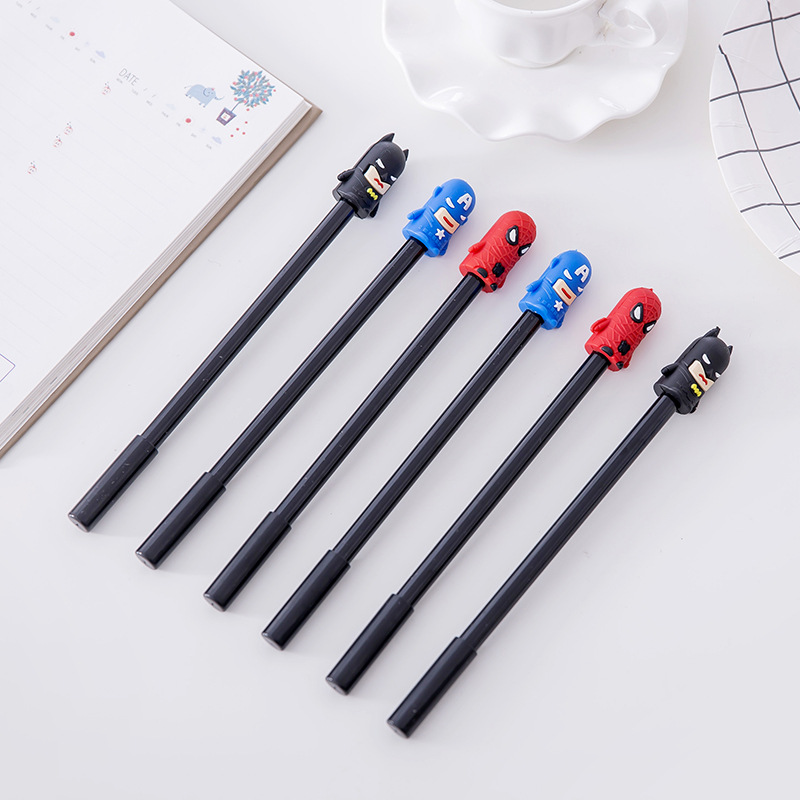 0 38mm Marvel Superhero Alliance Black Gel Ink Pen Cute Cartoon 3D Spiderman Batman Captain America Super Heros Signature Pen in Gel Pens from Office School Supplies