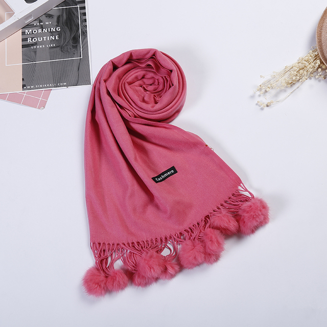 c9c2b9d9b63e5 2017 New Womens Solid Faux Cashmere Shawl thickening Warm Wool Long Winter  Scarf Real Rabbit Fur Balls decoration Wraps AU00967