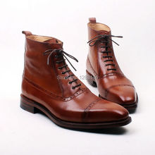 obbilly Handmade Genuine Calf Leather Outsole/Upper/Insole Brown Square Captoe Toe ankle Men's Fashion Leather Boot No.a127