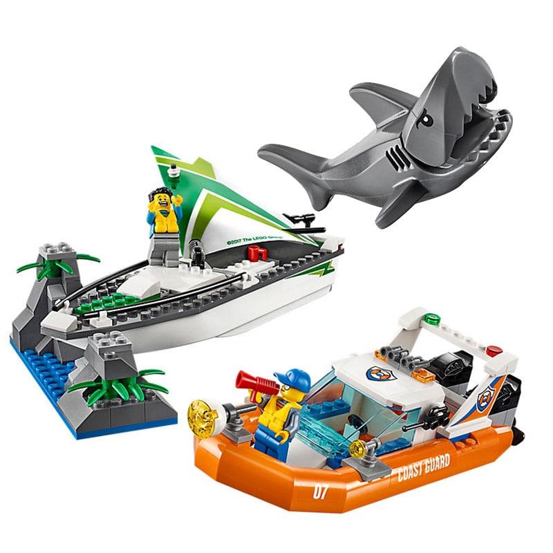 10752 BALE City Coast Guard Sea Sailboat Rescue Boats Model Building Blocks Enlighten Figure Toys For Children Compatible Legoe