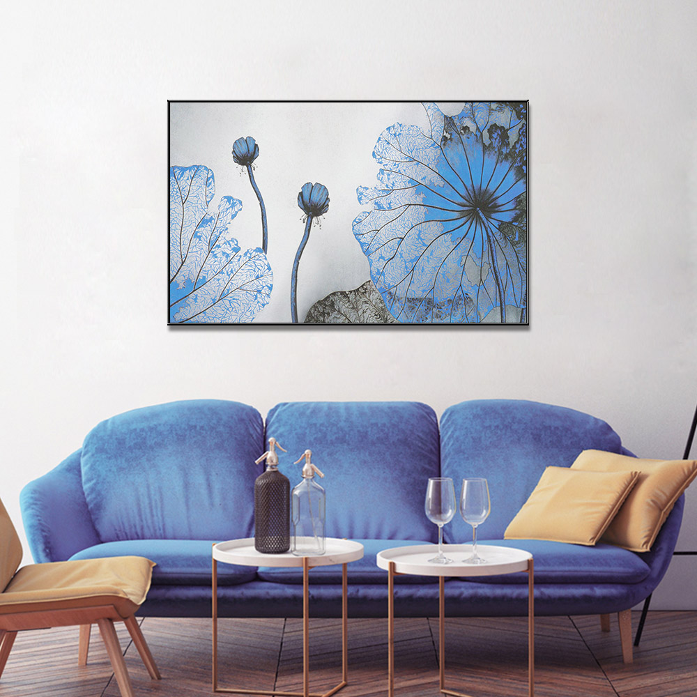 Unframed HD Canvas Prints Lotus leaf Watercolour Giclee Wall Decor Living Room Decoration Mural Module Art Spray Painting
