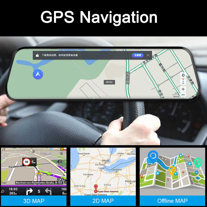 "4G أداس سيارة كاميرا DVR 10 ""الروبوت SmartStream الوسائط الرؤية الخلفية مرآة FHD 1080P كاميرا WiFi GPS اندفاعة كاميرا مسجل مسجل فيديو"