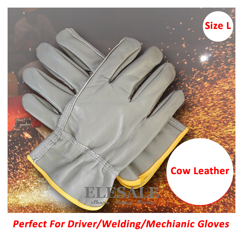 New Size L Cow Leather Driver Gloves Welding Gloves Work Safety Hands Protection For Riding Repairing Carring Driving Gloves цена 2016