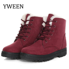 YWEEN Women Snow boots classic heels suede winter boots Women warm fur plush Insole ankle boots women shoes hot lace-up shoes women boots high quality classic lace up women winter diamond thick soled boots ankle snow boots female warm fur plush insole