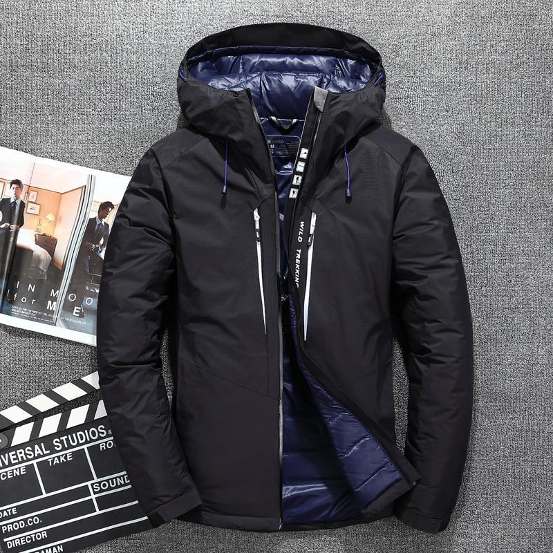 Erkek Kıyafeti'ten Şişme Ceketler'de Yeni Sıcak Satış Rüzgar Geçirmez Aşağı Ceket Erkekler Sıcak Kapşonlu Kış Ceket Marka Yüksek Kaliteli Akıllı Rahat Beyaz Ördek uzun kaban'da  Grup 1