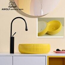 Искусство раковины для ванной комнаты керамический сосуд Современная моющая миска-умывальник желтый белый над столешницей ручной работы раковина AM894