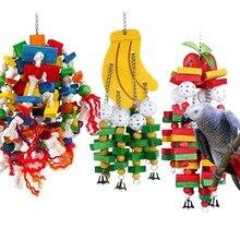 Juguete colgante de columpio para mascotas, loro de madera, colorido, seguro, insípido, para morder, pájaro, plátano, manzana, juguete para periquitos