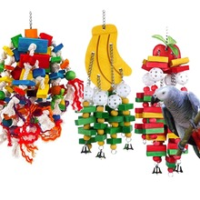 Pet Parrot Swing Hanging Toy Wooden Parrot Colorful Safe Tasteless Parrot Bite Bird Toy Banana Apple Parakeets Toy