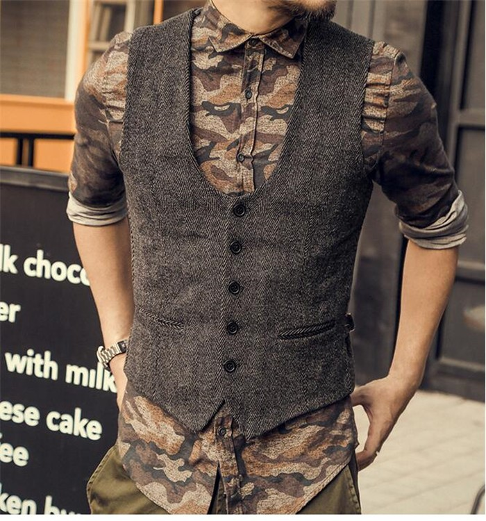 Men's Wool Tweed Slim Fit Leisure Cotton Suit Vest Gentleman Herringbone Pattern Waistcoat Beckham Business Brown Wedding Groom