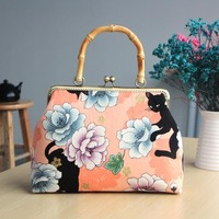 Cat& flower Print Cotton Canvas Fabric Purse Gold Frame Clutch Bags Material Kit with Clasp lock for Mother Closure Handbags