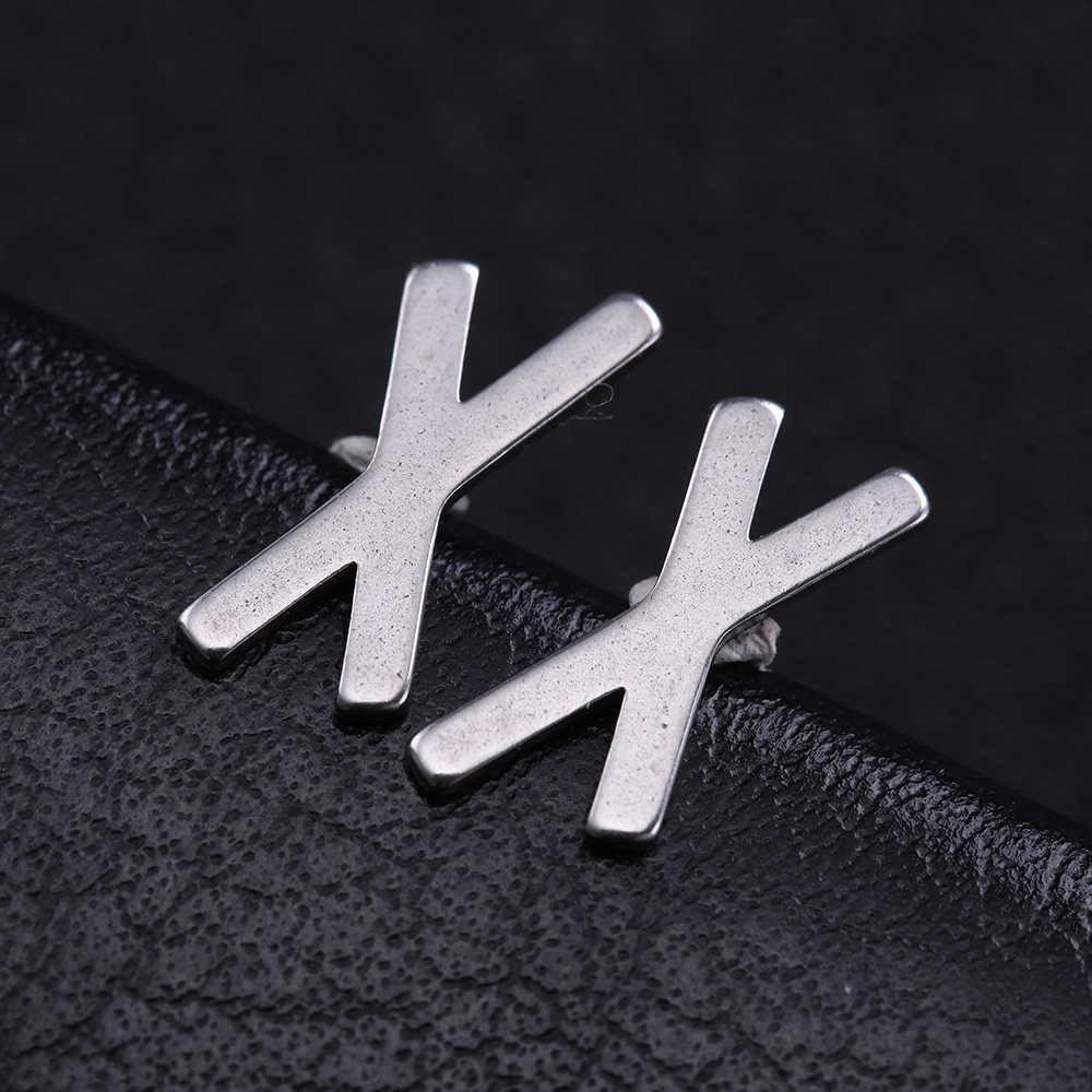 Dawapara 룬 문자 간단한 패션 귀걸이 스테인레스 스틸 쥬얼리 금속 남여 유행 스터드 귀걸이