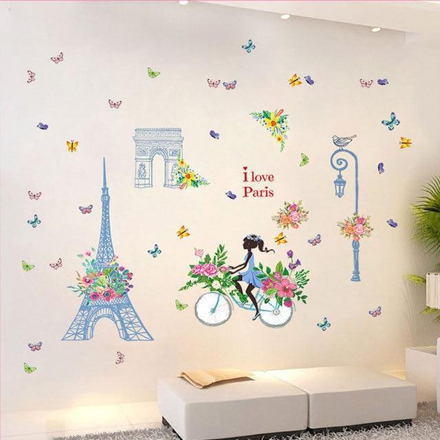 Velo Fille Papillon Stickers Muraux Stickers Enfants Chambres