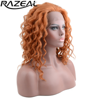 Razeal Short Bob Synthetic Lace Front Wigs For Black Women Heat Resistant Natural Deep Wave African American Artificial Wigs