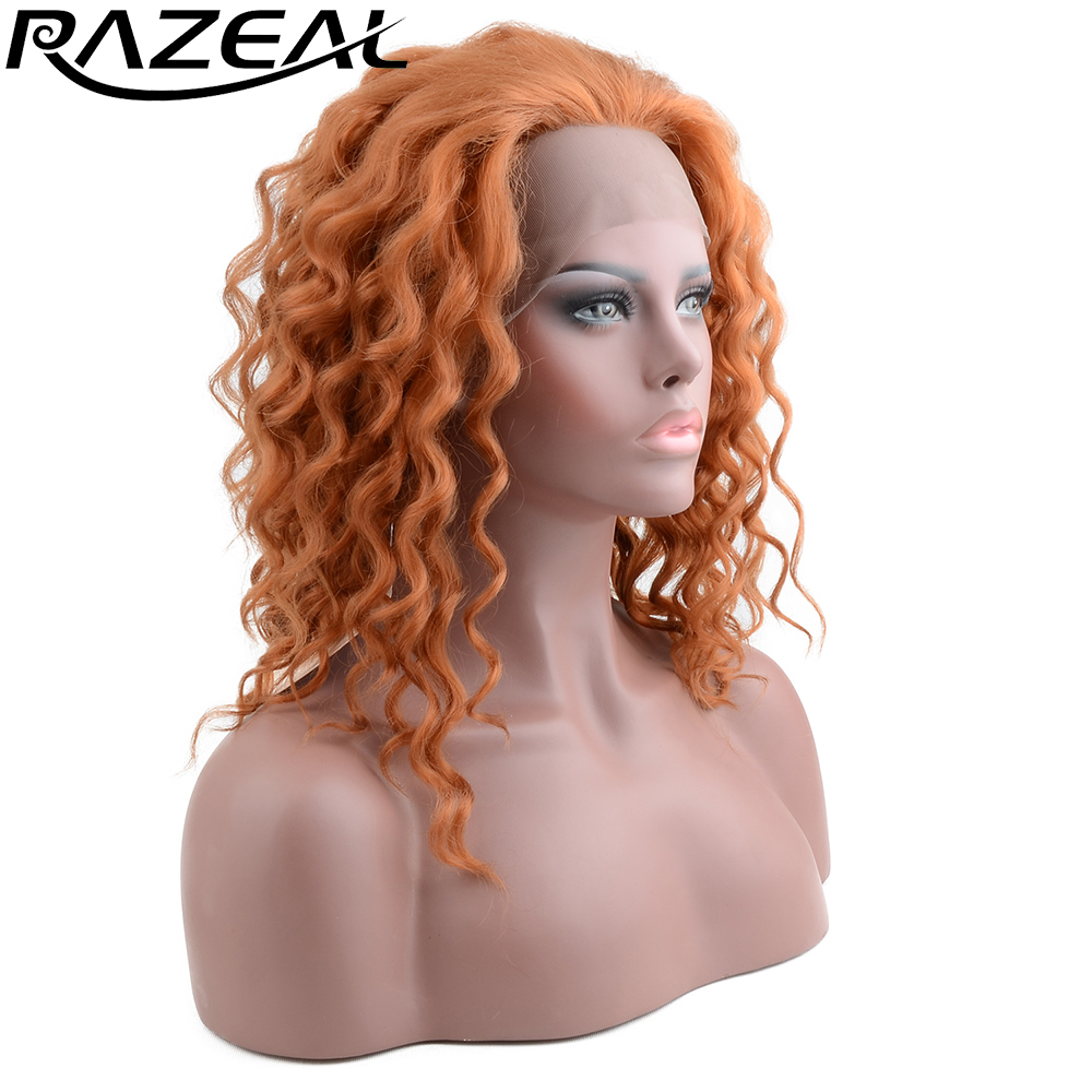 Razeal Short Deep Wave Bob Synthetic Lace Front Wigs Heat Resistant African American Artificial Wigs