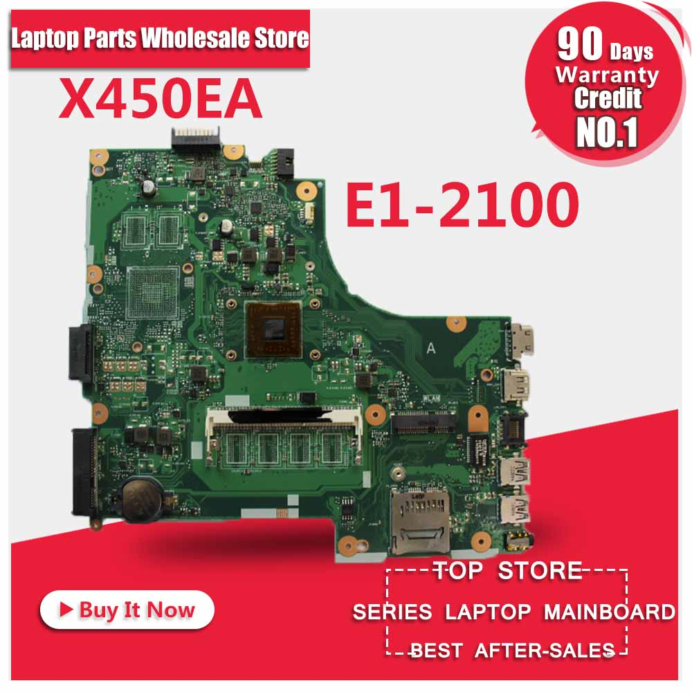 For Asus X450EA X450E X452EA X452E A452E With E1-2100 CPU Laptop Motherboard X450EP rev 2.0 Mainboard 100% Tested free shipping hotpoint ariston pc 750 t ow r