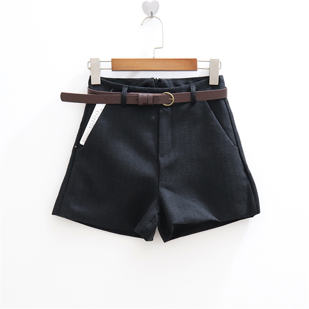 2019 Summer High Waist Shorts Women Thick With Sashes Wide Leg Shorts Female Gray Black Casual Zip Bottoms A Line Short Shorts