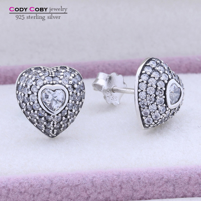 Original Thai Jewelry Authentic 925 Sterling Silver Hearts Stud Earrings Pave Rhinestone Stone For Women My Wife Gifts Wholesale