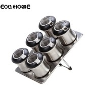 7 Pcs/Set Rotatable Pepper Shakers Stainless Steel Magnetic Cans Set for Spice Salt Jars Set Coffee Condiment Sauce Storage Box