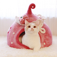 HEYPET Cat Cave Pet House Cats Bed Soft Long Plush Mat Dog Bed for Handmade Wool Cat Litter Washable Breathable Cat Supplies