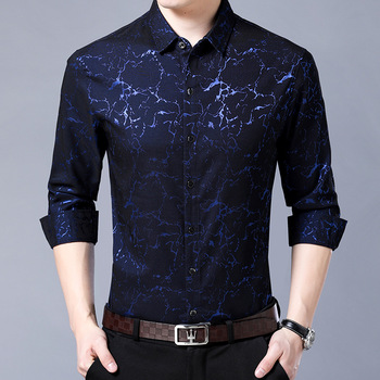 Fashion high-end spring and summer autumn famous brand mens long-sleeved shirt business mercerized non-iron men