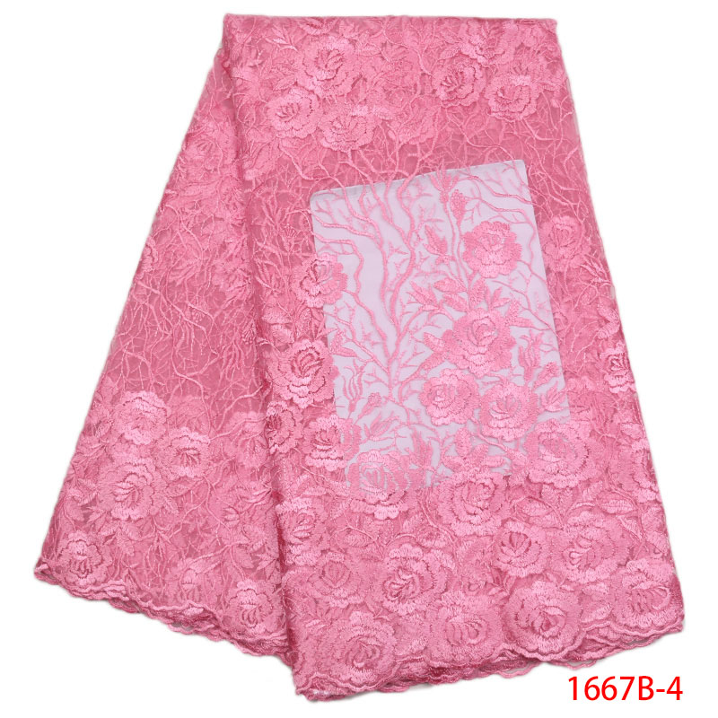 2018 New African Lace Fabric Baby Pink High Quality 3D Flower French Net Wedding Nigeria Embroidered