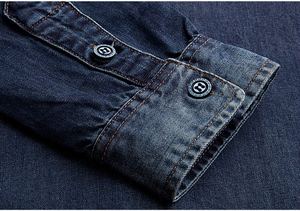 Image 5 - KUEGOU 2019 Autumn 100% Cotton Blue Denim Shirt Men Dress Button Casual Slim Fit Long Sleeve For Male Fashion Brand Blouse 15005