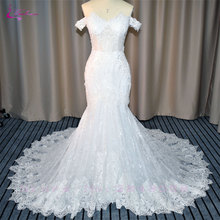 Waulizane Vintage Off a váll hableány esküvői ruhák gyöngyház egyedülálló Appliques csipke ecset vonat Sweetheart esküvői ruhák